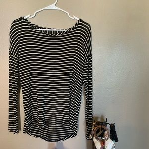 BP Striped Blouse with Peek-a-Boo Opening in Back